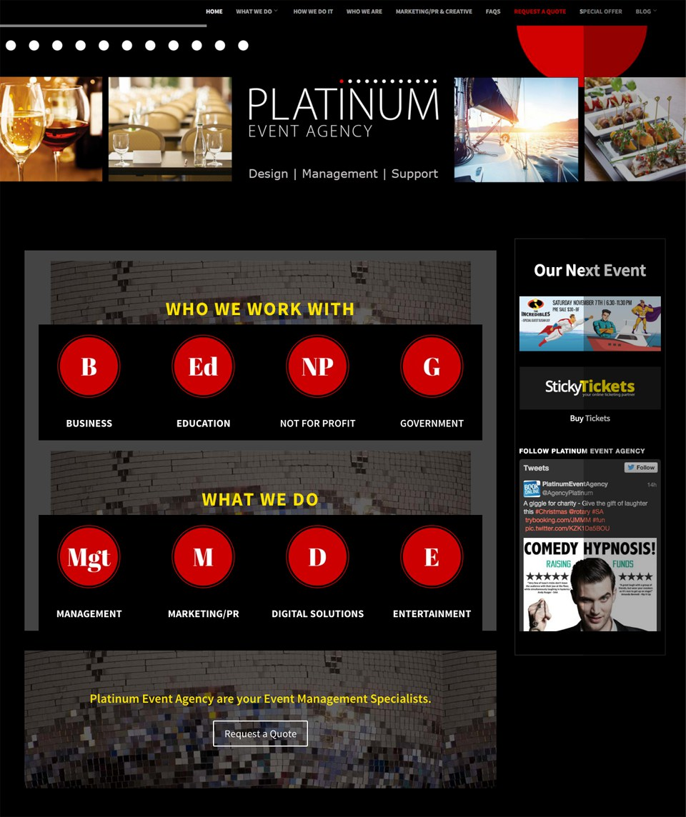 Platinum Event Agency redesign and move from WordPress.com